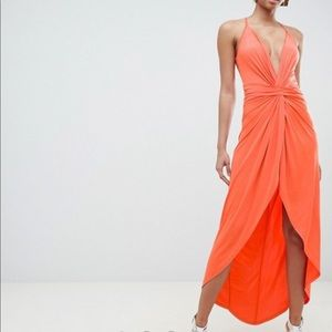 ASOS DESIGN slinky twist maxi dress
